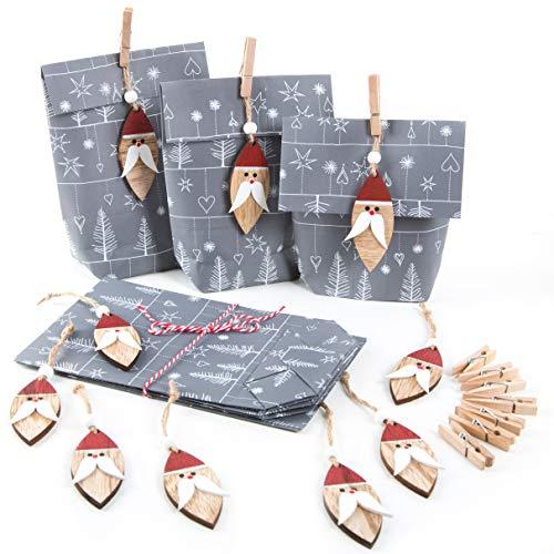 Logbuch-Verlag 10 Nikolaustüten - graue Weihnachtstüten mit Nikolaus Anhänger - Verpackung Nikolausgeschenk Nikolaussackerl
