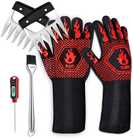 Rwm Meat Therometer Basting Brush BBQ Gloves Meat Claws Set Instant Read Food Thermometer Baking product image