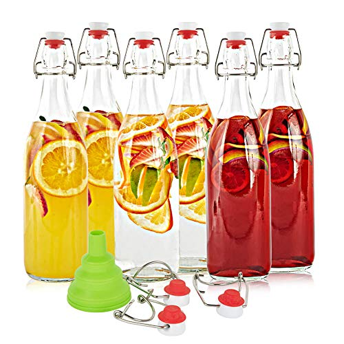 SXUDA Swing Top Glass Bottles BPA-Free 33.75oz Flip Top Airtight Brewing Bottle (6 Pack) with Free 3 Stoppers 1 Funnel for Kombucha, Beer, Oil and Vinegar, Beverages, Homemade Juices