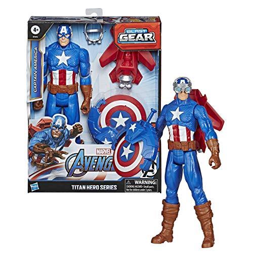 Hasbro Marvel Legends Avengers - Captain America (Action Figure 30cm con Blaster Titan Hero Blast Gear)
