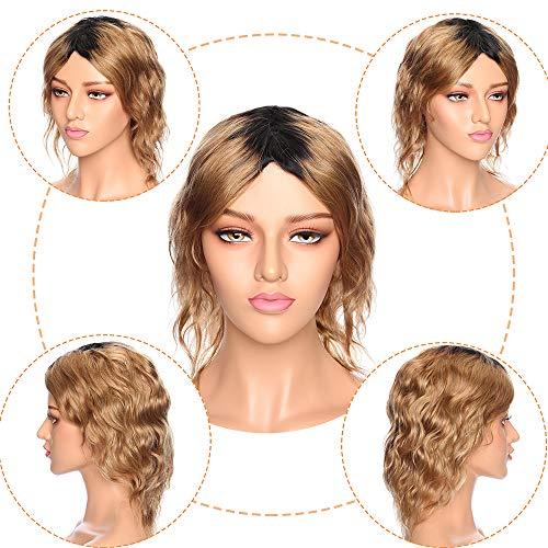 """Perruque Femme Cheveux Naturel Vrai Cheveux Humain Bresilien Remy Ondulé #1BT27 Dégradé Noir naturel à Blond foncé - 10""""(25cm)"""