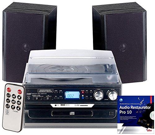 auvisio Stereoanlage: 5in1-Plattenspieler mit Bluetooth und Digitalisier-Funktion, 40 Watt (Schallplattendigitalisierer)