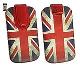 Emartbuy® Union Jack Print Premium PU LederSlide in Hülle Case Cover Sleeve Cover Holder (Größe 3XL) Mit Ausziehhilfe Geeignet für Oppo Joy 3 4.5 Zoll Smartphone