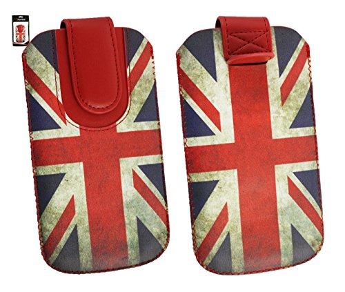 Emartbuy® Union Jack Print Premium PU LederSlide in Hülle Case Cover Sleeve Cover Holder (Größe 3XL) Mit Ausziehhilfe Geeignet für Mobistel Cynus F9 4G Smartphone