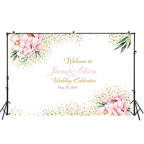 Photo Backdrop Cloth Pink Floral Theme Customize Wedding Photo Backdrop Birthday Portrait Photo Background Party Backdrop Wall 3D Background Wall Photo Booth Background Photo Background Ba