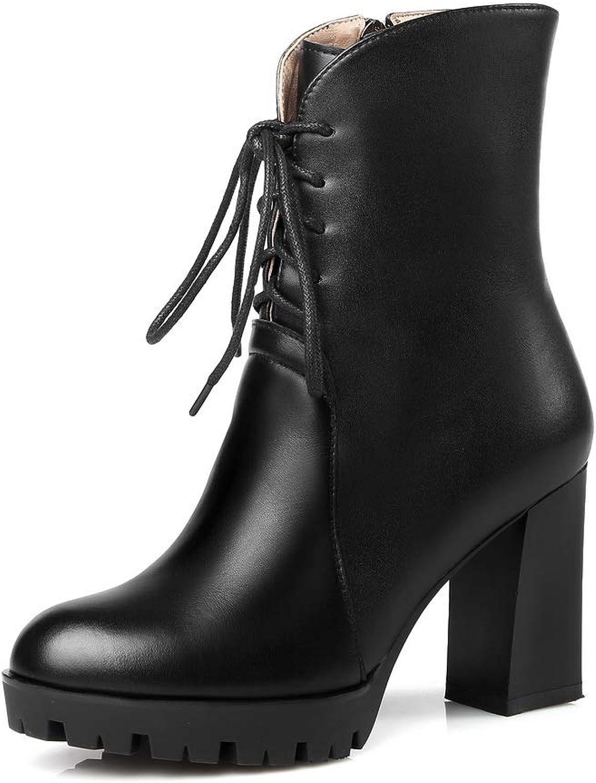 AdeeSu Womens Fabric High-Heel Solid Leather Boots SXE05165