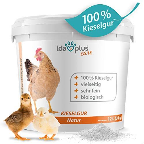 Ida Plus – Kieselgur Natur im Eimer/Sack – Biologische Kieselerde als Pulver – das Bio Produkt für ihren Hühnerstall & Garten – gut für Hühner, Wachteln & anderes Geflügel 12 Liter