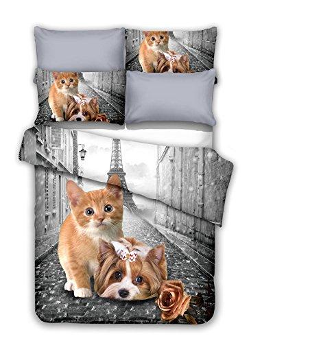 DecoKing 200x200 cm Bettwäsche mit 2 Kissenbezügen 80x80 Katze Welpe Paris Eiffelturm Bettbezüge Microfaser Reißverschluss Little Pair weiß grau Anilove