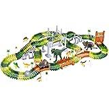 Reimotkon Dinosaur Tracks Toys Kits 216 Pieces Race Tracks Flexible Train Track Race Car Vehicle Playset with 1 Battery Powered Race Cars and 8 Dinosaur,Great Gift for Boys&Girls (CF1916)