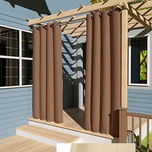Clothink Outdoor Vorhänge Aussenvorhang B:132xH:305cm Winddicht Wasserabweisend Sichtschutz Sonnenschutz UVschutz Schokolade