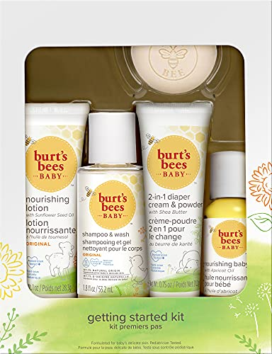Product Image of the Burt's Bees Baby Getting Started Gift Set, 5 Trial Size Baby Skin Care Products,...