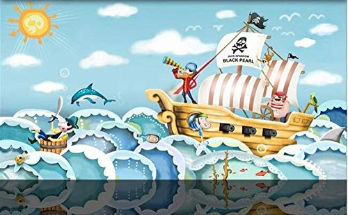 Fotomurales 200x150 cm 4 Strips Dibujo de dibujos animados de barco pirata Papel pintado tejido no tejido Decoración de Pared decorativos Murales moderna Diseno Arte de la pared