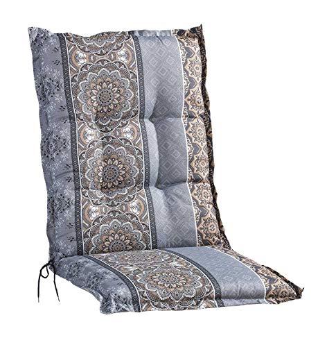 Sesselauflage Sitzpolster Gartenstuhlauflage für Mittellehner | 50 cm x 110 cm | Braun | Mandalamotiv | Baumwolle | Polyester