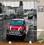 AdaCrazy fotografía Blanco Negro Rojo clásico Mini Cooper 71x71inch Tela Impermeable poliéster Bandera británica Incluye 12 Ganchos plástico Cortina Ducha Engrosada
