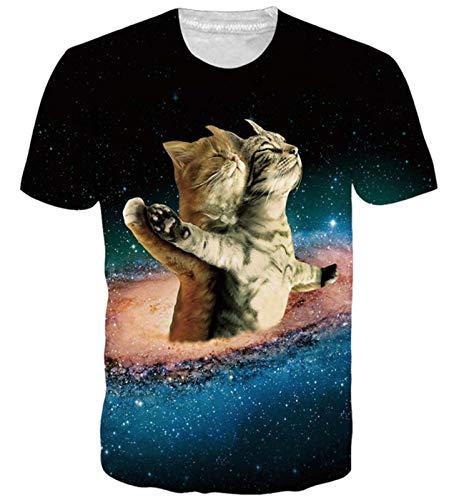 Goodstoworld Mens Womens Cat Drink Orange Print Shirt Summer 3D Funny Casual Short Sleeve Funky Tshirt Tee Tops, L, Titanic Cat