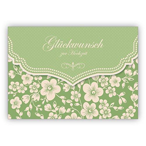 Groene vintage trouwkaart met retro kersenbloesempatroon: felicitatie voor bruiloft • fijne felicitatie wenskaart voor huwelijk, burgerlijke stand. 16 Grußkarten