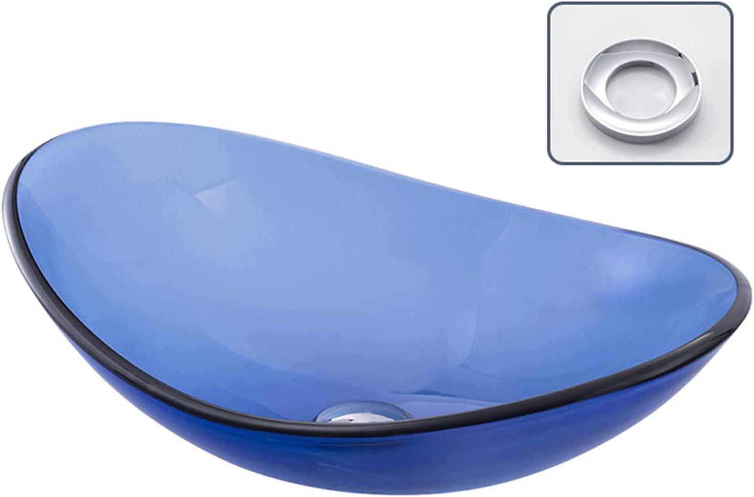 Lavabo Sobre Encimera De Vidrio Templado Azul, Lavamanos Baño De Arte Moderno Estilo Minimalista, Fregadero Independiente Con Anillo De Montaje, Para Mueble De L(Size:Oval Art Basin 540 * 360 * 160mm)