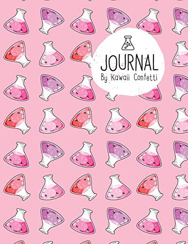 Journal: Cute Science Flasks Chemistry Notebook - Students Kids Teachers - 8.5x11 Large Lined Planner or Diary for School Lab Notes Writing College (Kawaii Stationery Novelty Gifts for Girls & Women)