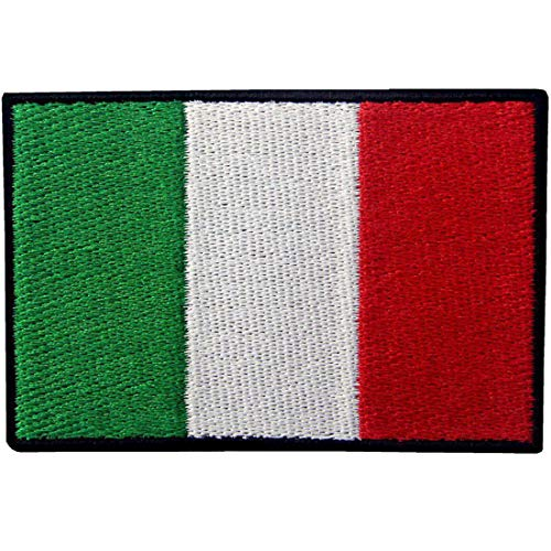 EmbTao Italy Flag Embroidered Patch Italian Iron On Sew On National Emblem