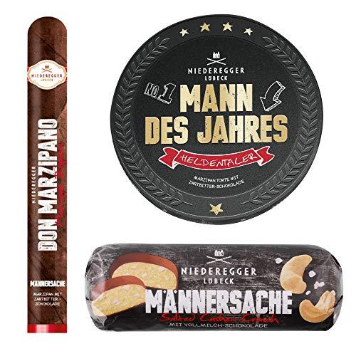 Niederegger Männersache Geschenk-Set mit Heldentaler Mann des Jahres, Marzipan Zigarre