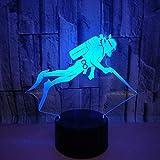 Lámpara de ilusión 3D Luz de noche Led Buzo acrílico USB Touch 7 Cambio de color Lámpara de mesa Decoración Los mejores regalos de vacaciones de cumpleaños para niños