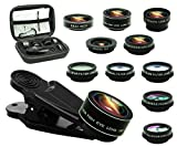 Bostionye 11 in 1 Phone Camera Lens Kit, 0.63Wide Angle lens+15X Macro+198°Fisheye+2X Telephoto+Kaleidoscope3/6+CPL/Flow/Star/Radial