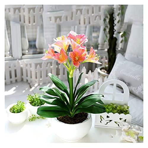 DIWA Flor de simulación de la orquídea con jarrón, Planta en Maceta de Flores Falsas, combinación de Plantas de simulación decoración de Flores de plástico (Color : Pink)
