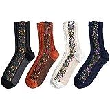 Vintage Floral Frauen Socken, Retro Ethnic Stil Obst Blumen Socken, Damen Socken, Warme Baumwolle Socken für Herbst Winter rot