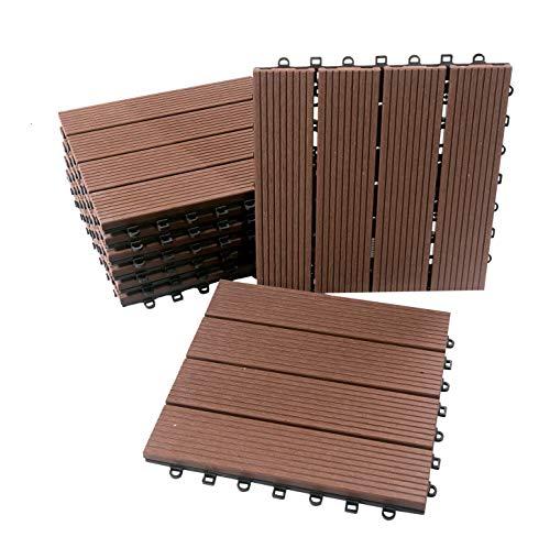 BodenMax® LLWPC107-1-11 WPC Bois Plastique Matériau Composite Brun Carrelage De Sol Click, Brun Foncé, Set 30 x 30 cm (8 Pièces)