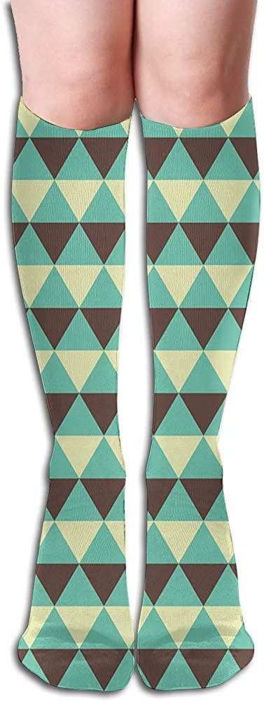Men's and Women's Funny Casual Combed Cotton Socks,Geometric Abstract Rhombuses Pattern Retro Triangle Arrangement
