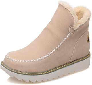 Women's Comfortable Pure Color Round Toe Warm Plush Lining Platform Winter Ankle Snow Boots