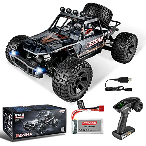 BEZGAR HB101 1:10 Scale Beginner RC Truck, 4WD High Speed 48km h All Terrains RC Car Off Road Waterproof RC Buggy Toys for Boys Kids and Adults