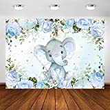 COMOPHOTO Boy Elephant Backdrop Gender Neutral Blue Flower Elephant Photography Background 7x5ft Elephant Birthday Party Banner Photo Booth Backdrops Decoration Supplies