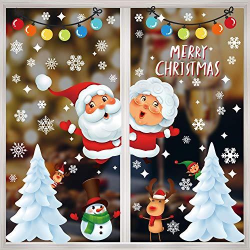 heekpek Fensterbilder Weihnachten Selbstklebend Weihnachtsaufkleber 10 Blatt Schneeflocken Aufkleber Fenster Sticker Weihnachtsdeko Netter Weihnachtsmann Statisch Haftende PVC Aufklebe Fenstersticker