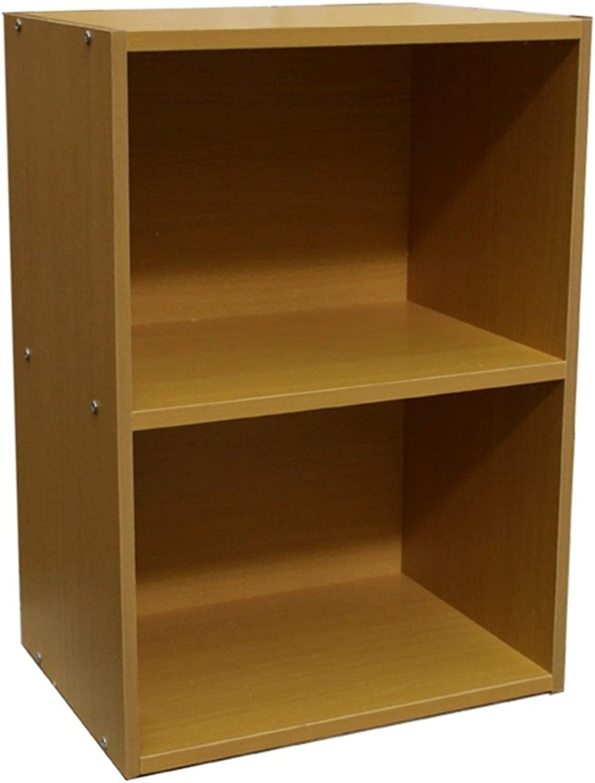 2-Tier Storage Bookcase w Adjustable Shelf in Natural Finish