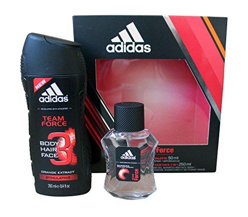 Adidas Team Force Duo Geschenkset für Herren - 250ml Body Face Hair Wash - 50ml Eau de Toilette Spray