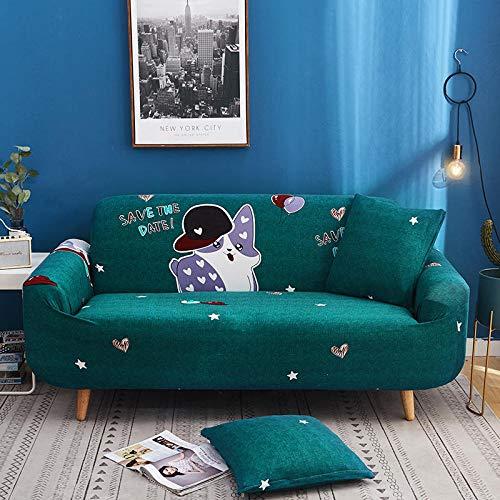 BSZHCT Elastischer Sofabezug Tierh& Bedruckte Pattern Sofabezüge Dunkelgrün 4 Sitzer Antirutsch Stretchhusse Sofahusse Couchhusse mit 2 Zierkissenbezüge,für L Form Sofa Couch Sessel (235-310cm)