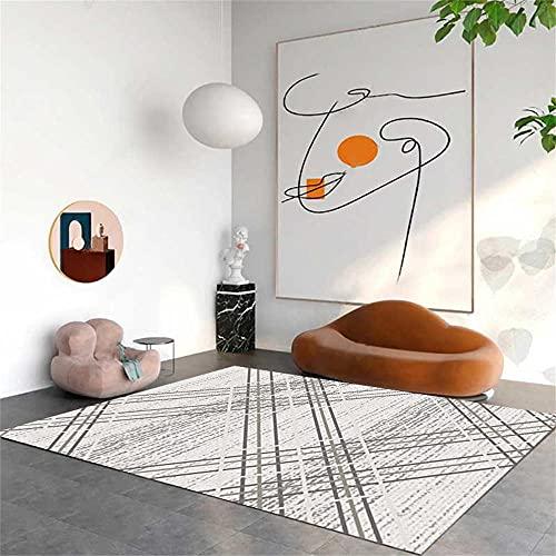 Dünner Teppich Sofa Teppiche Der gemusterte Teppich besteht aus einfachen grauen Linien, das einfach, warm und pflegeleicht ist XXL Teppich 180x280cm