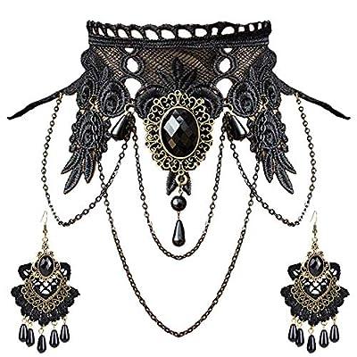 Aniwon Punk Style Wedding Party Black Lace Choker Beads Tassels Chain Pendant Necklace Earring Set for Women (Choker+Earring)