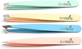 Four Piece Tweezer Set - Leather Travel Case - Purebello (MultiColor)