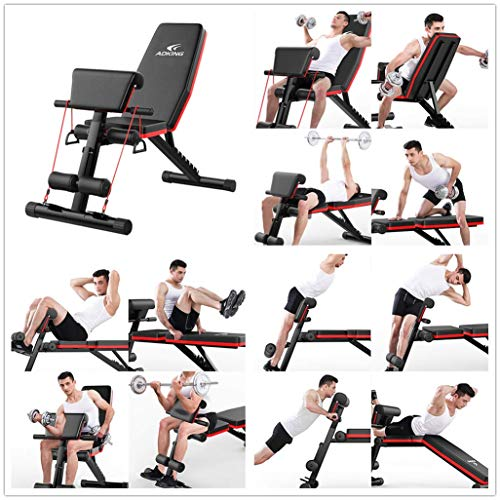 Adjustable Weight Bench Workout, Fitness Training Weight Bench, Multifunctional Indoor Foldable Bench Sit Up Incline Abs Bench for Strength Training