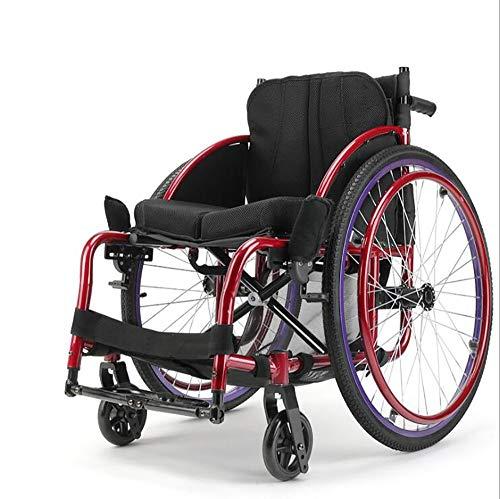 ANGLE74414 Faltbarer Rollstuhl,Multifunktion Reiserollstuhl,sportlicher Linienkörper Bequemes Atmungsaktives, Kissen Klappständer,drehbarer Vollreifen Geeignet Für ältere Menschen