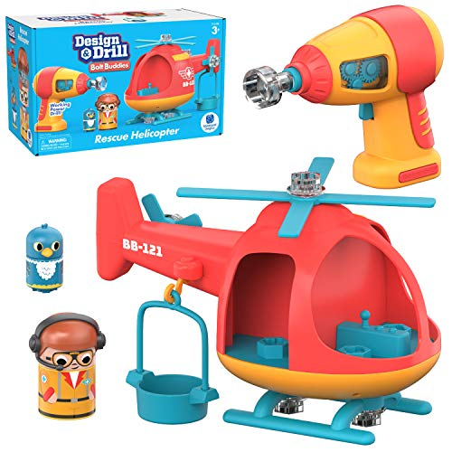 Educational Insights Design & Drill Bolt Buddies Helicopter: Easter Toy, Fine Motor Skills & STEM Toy, Perfect Drill Toy for 3+
