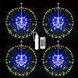 Starburst Lights,Firework Light Rechargeable Battery Operated with Remote Control, Hanging Fairy String Lights Waterproof Decorative Wire Lights for Christmas (Multi Colored 4 Set)