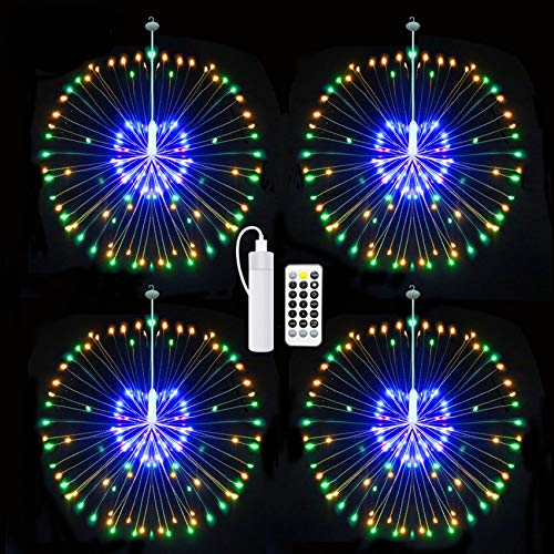 Starburst Lights,Firework Light Rechargeable Battery Operated with Remote Control, Hanging Fairy String Lights Waterproof Decorative Wire Lights for Valentines Day Decor