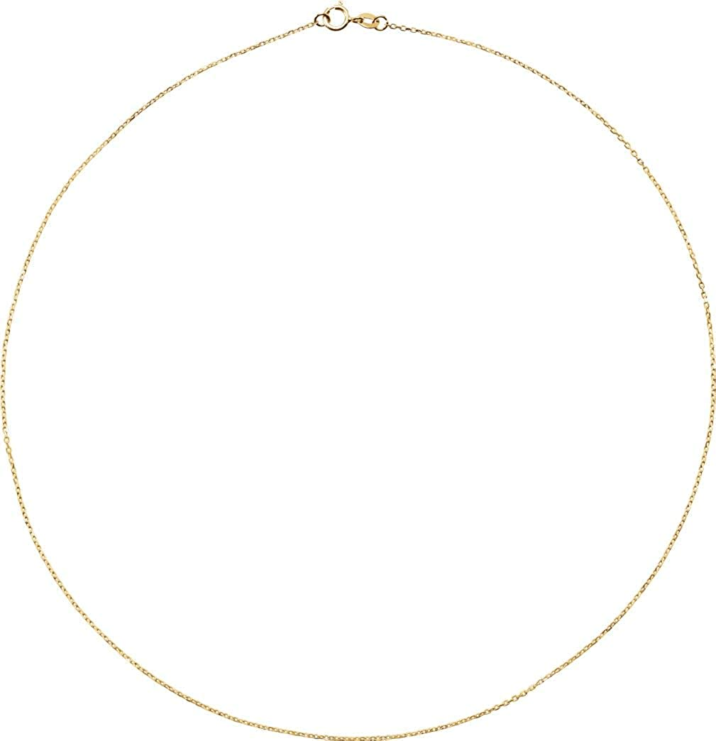 18k Yellow Gold 1mm Solid Diamond-Cut Cable Chain