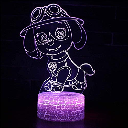 Lámpara de anime PAW Patrol 3D Luz de cabecera para niños con 16 colores cambiantes lámpara de decoración con control remoto regalos de cumpleaños para niñas lámpara de anime Patrulla Canina