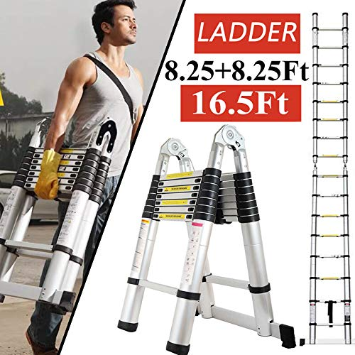 ZhanGe A-Frame Telescopic Ladders 16.5Ft/5M (2.5M+2.5M), Aluminium Extension Portable Folding Ladder for Outdoor Indoor Home Loft Office, Solid Quality with Anti Slip Rubber