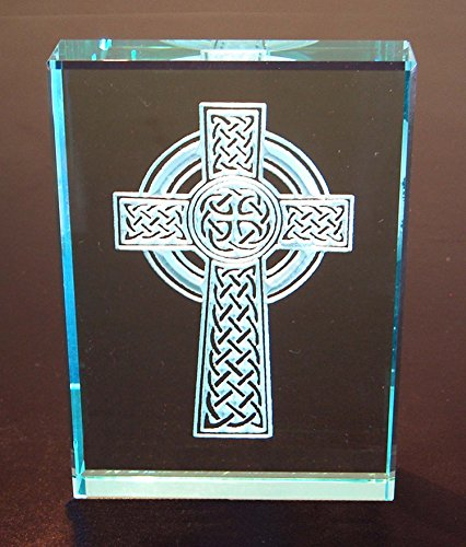 Celtic Cross: Hand Carved Etched Glass Paperweight