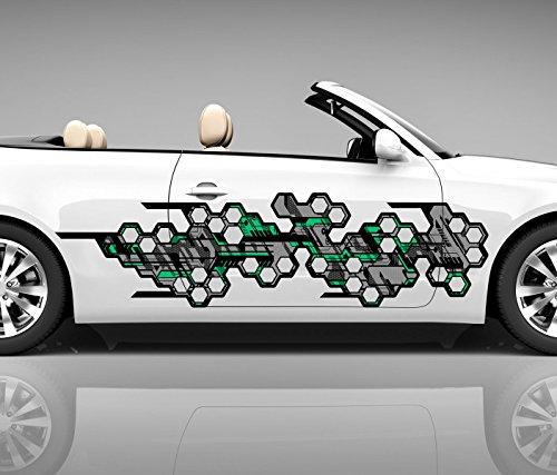 2x Seitendekor 3D Autoaufkleber Muster Grau Digitaldruck Seite Auto Tuning bunt Aufkleber Seitenstreifen Airbrush Racing Autofolie Car Wrapping Tribal Seitentribal CW138, Größe Seiten LxB:ca. 160x40cm